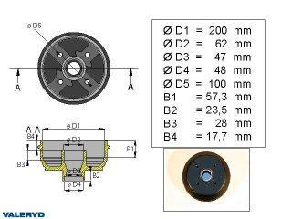 Bromstrumma 200x50 4x100 AL-KO mm-lager
