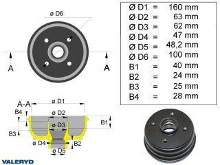 Bromstrumma 160x35 4x100 BPW mm-lager