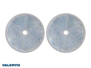 Rund reflex 60 mm vit skruvhål 2-pack